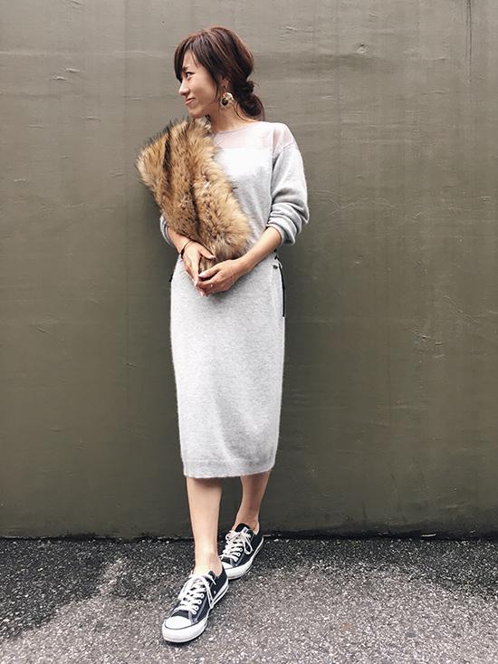 mai_SHEER SHOULDER KNIT DRESS