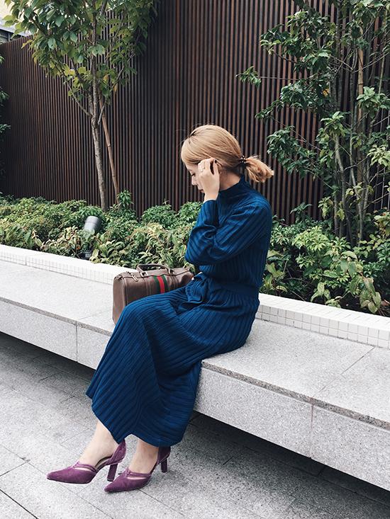 yuko_SWITCHING WIDE RIB KNIT DRESS
