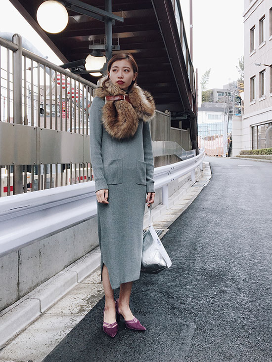 kaori_SLIT POCKET KNIT DRESS