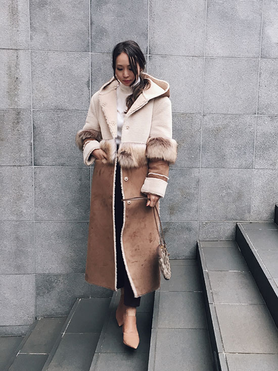 maki_FUR DOCKING MOUTON COAT