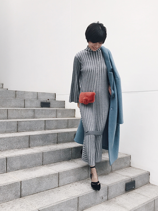 yukim_SWITCHING WIDE RIB KNIT DRESS