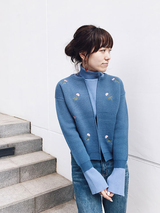 mai_FLOWER EMBROIDERY JACKET KNIT