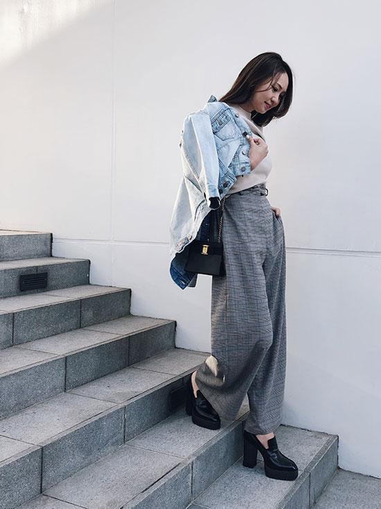 maki_SHORT LEG CHECK PANTS