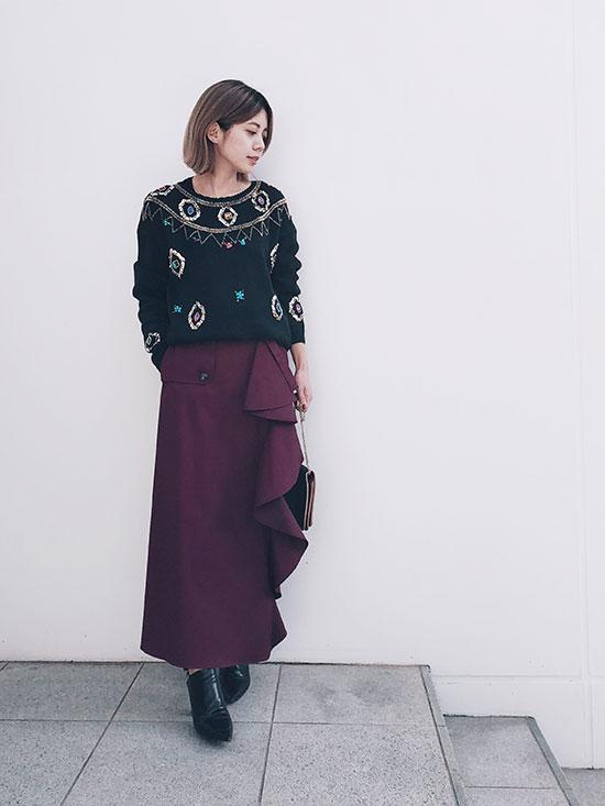 yuko_FLARE RUFFLE CHINO PANTS