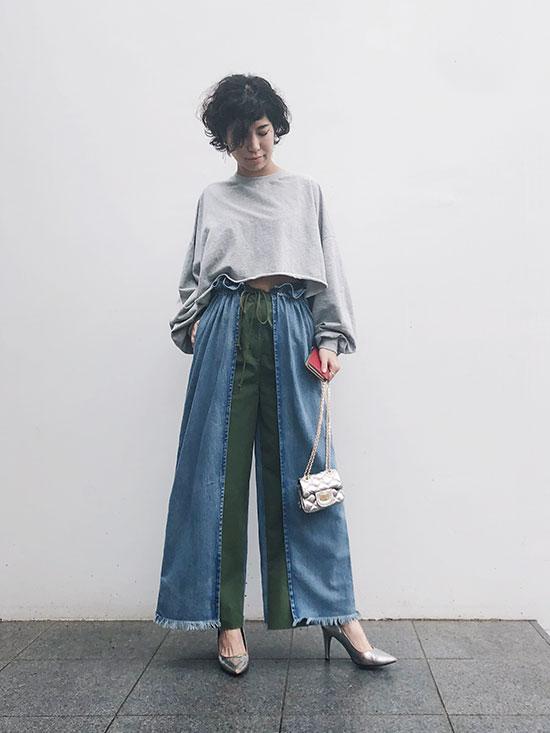 yukim_MIX MATERIAL PANTS