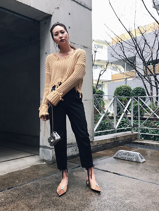 maki_LACE UP TAPERED PANTS
