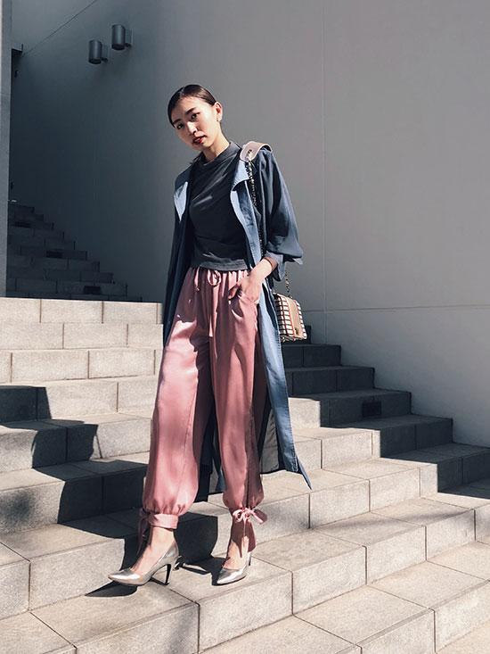 kaori_SHINY ANKLE RIBBON PANTS