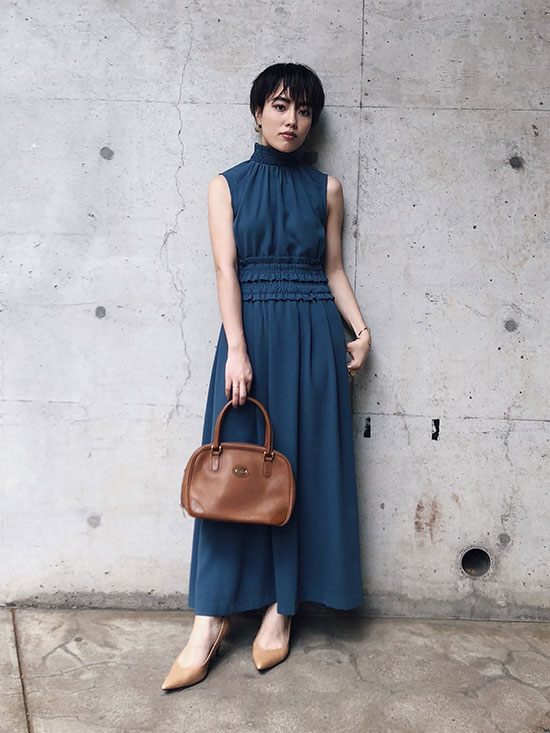 shioriok_SHIRRING LONG DRESS