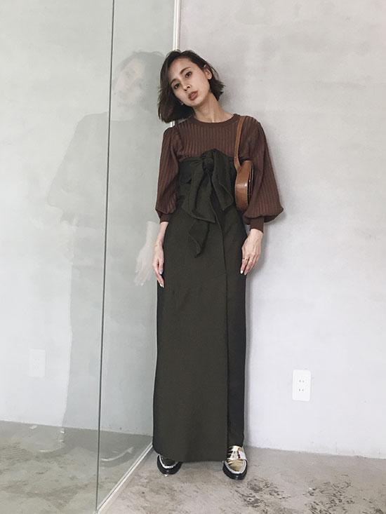 nao_DOUBLE RIBBON BARE DRESS