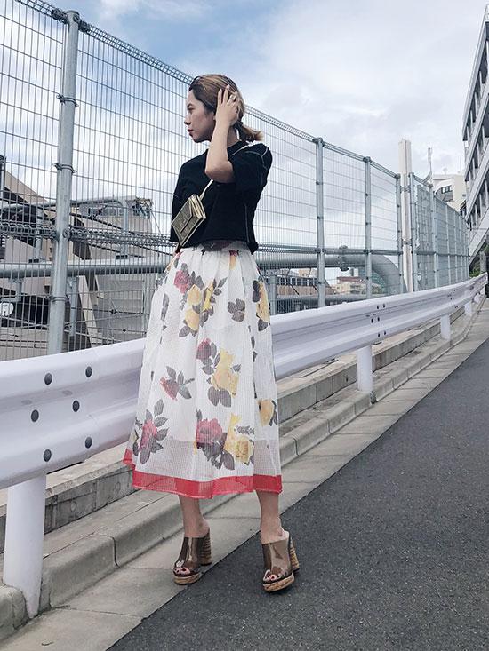 yuko_MEDI MESH PRINT SKIRT