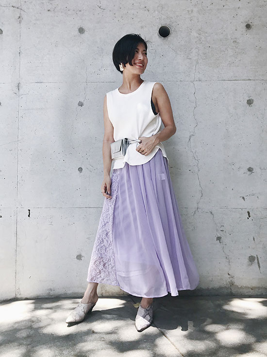 yukim_SHEER ASYMMETRY SKIRT