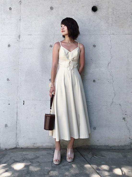 ayumi_MEDI LACE UP SLIT DRESS