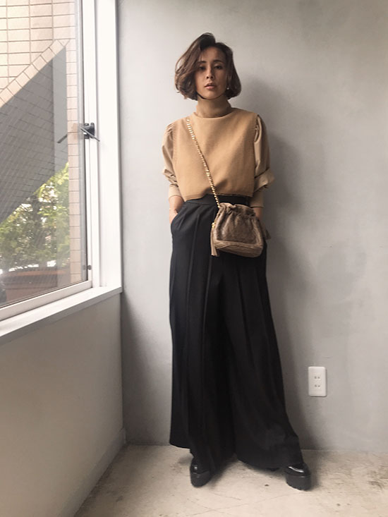 nao_WARM MOISTEANE PLEATS PANTS