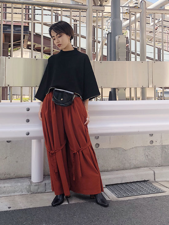 shioriok_KNEE RIBBON FLARE PANTS
