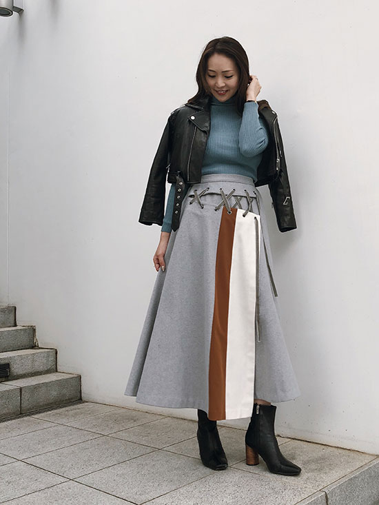 maki_COME OFF LACE UP SKIRT