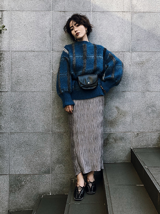 shioriok_MOHAIR STRANGE CHECK KNIT