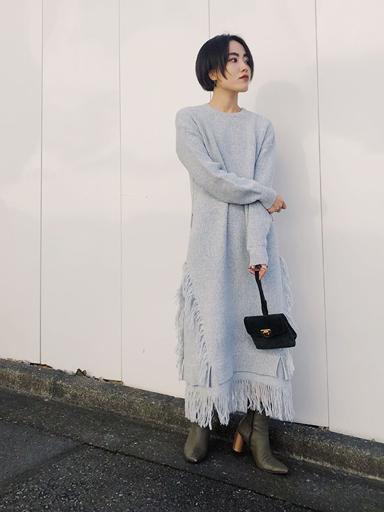 shioriok_OVER FRINGE KNIT DRESS