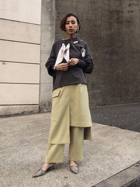 nao_SKIRT LAYERED PANTS