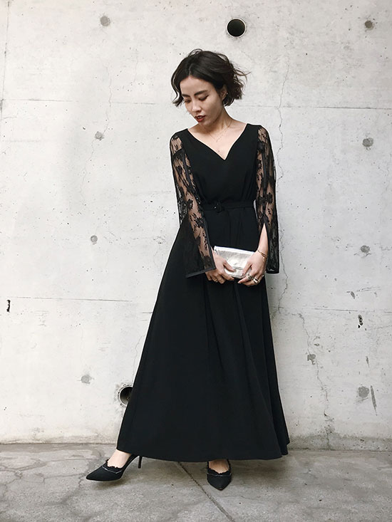 shioriok_LACE SLEEVE REFINED DRESS