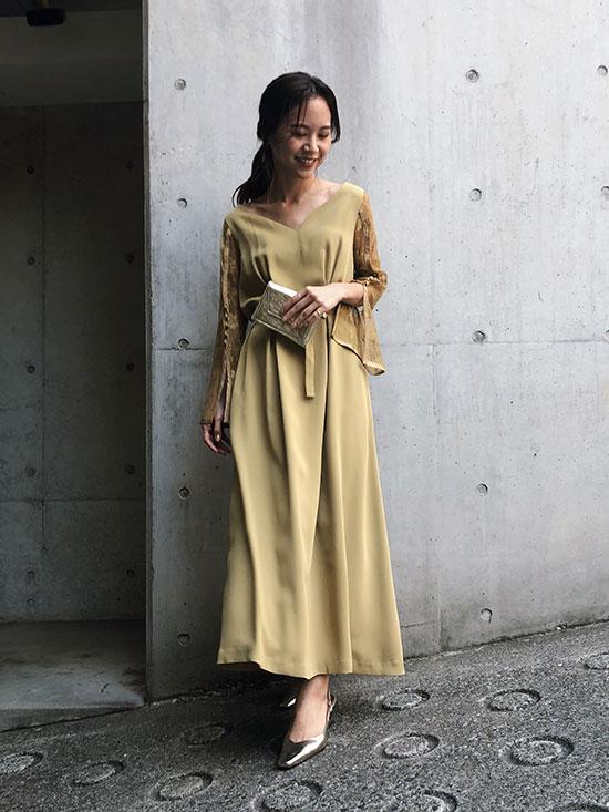 yukin_LACE SLEEVE REFINED DRESS
