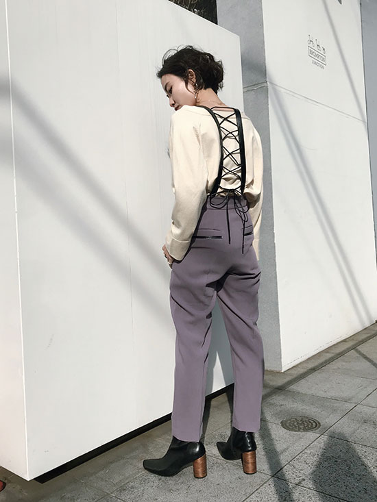 shioriok_LEATHER SUSPENDER PANTS