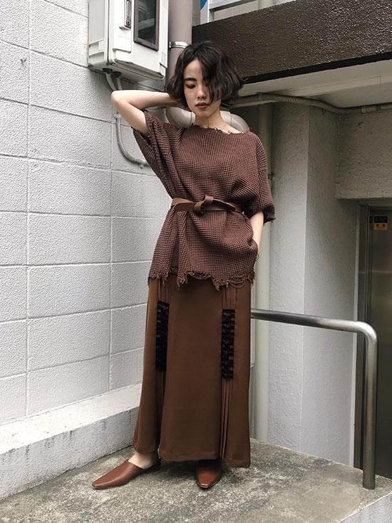 shiori_WAFFLE DAMAGE KNIT TOP