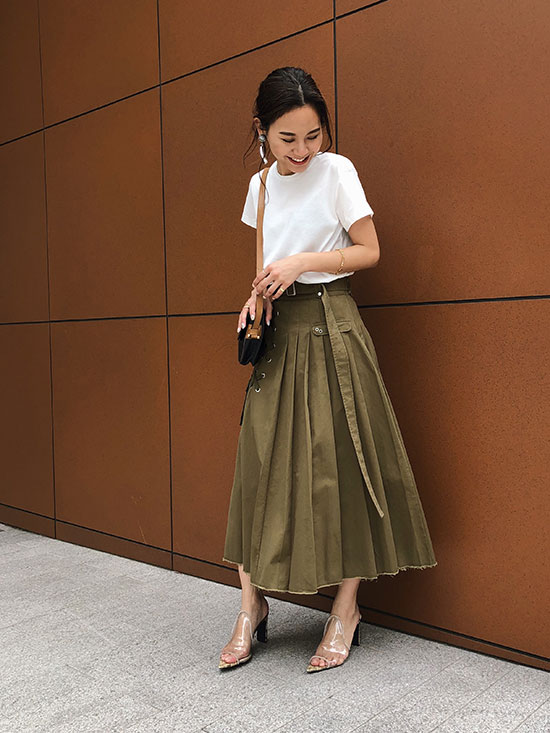yukin_PLEATS MILITARY SKIRT