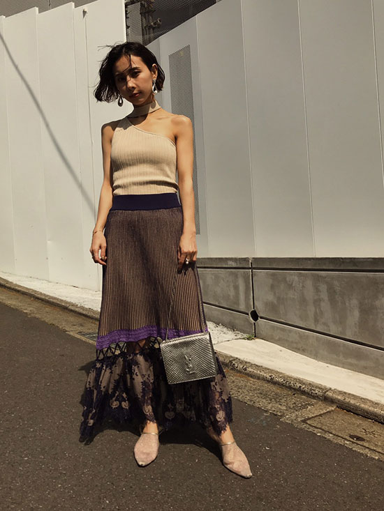 nao_MEDI ONE SHOULDER WITH CHOKER TANK