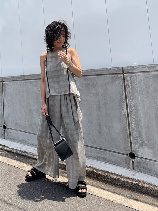 yukim_TRANSPARENT CHECK PANTS