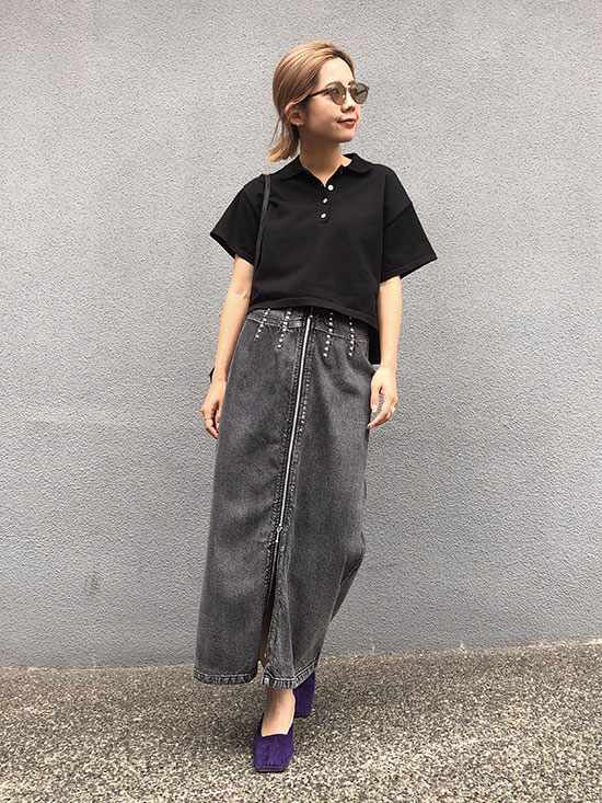 yuko_STUDS LINE DENIM SKIRT
