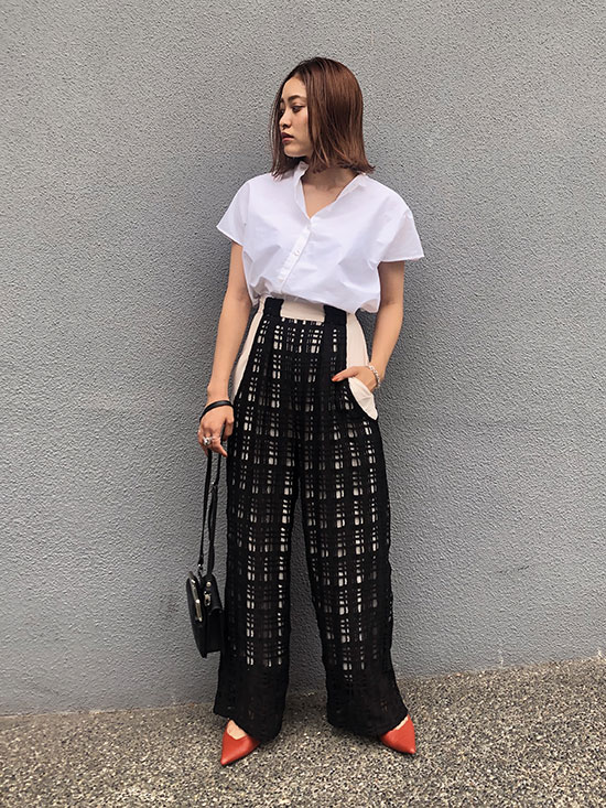 akane_SHEER CHECK LAYERED PANTS