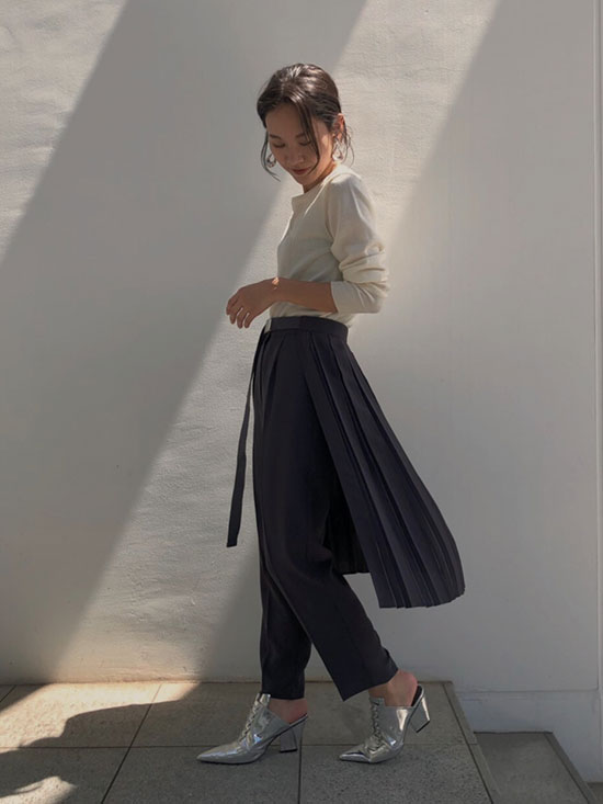 yukin_PLEATS BELT LAYERED PANTS