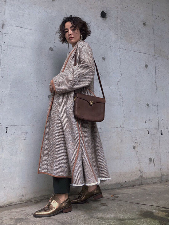 shioriok_OVER 2WAY HERRING BONE COAT