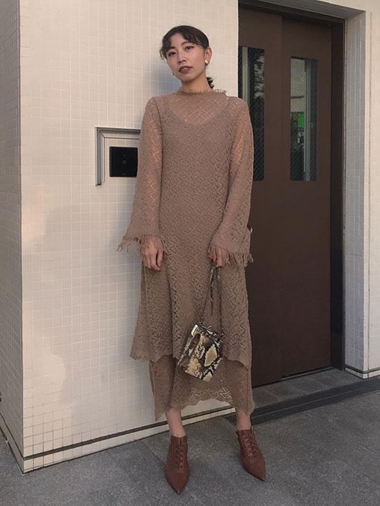 kaori_UNDRESSED GEOMETRIC LAYERED KNIT DRESS