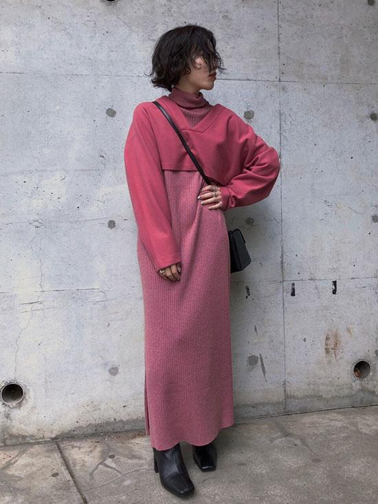 shioriok_LAYERED KNIT DRESS