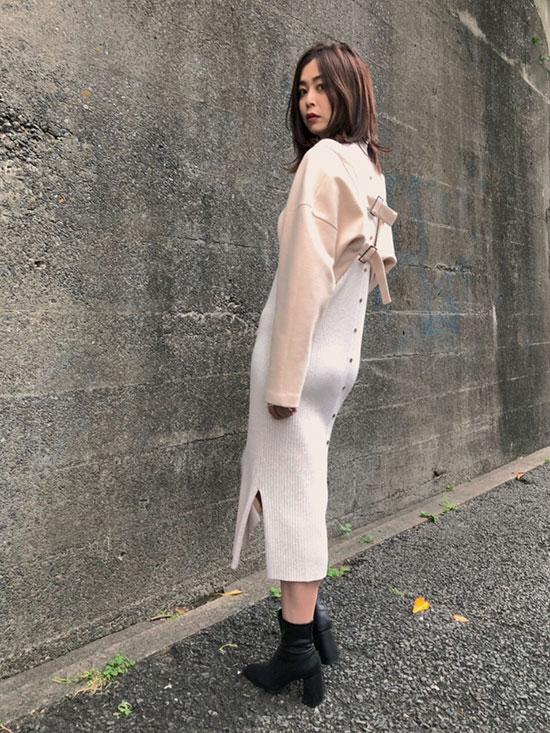 ayumi_LAYERED KNIT DRESS