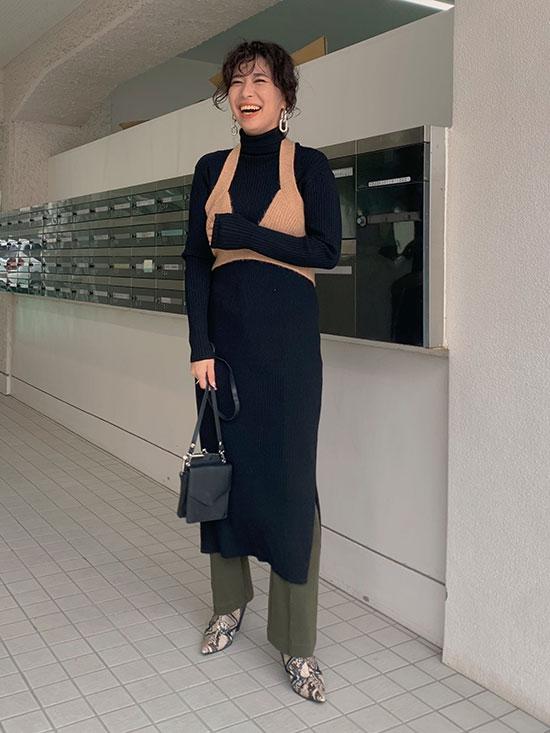 yukim_LAYERED KNIT DRESS
