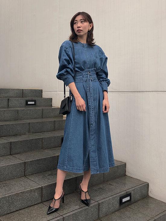 kaori_BELTED VARIOUSLY DRESS