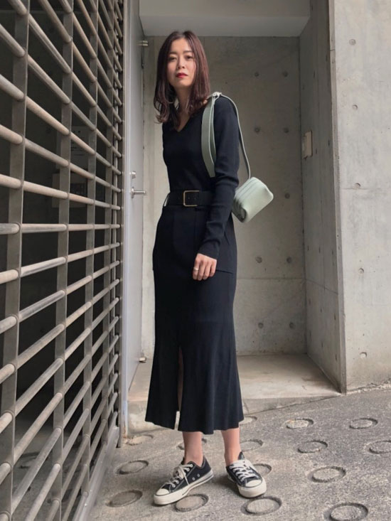 ayumi_BELTED KNIT DRESS