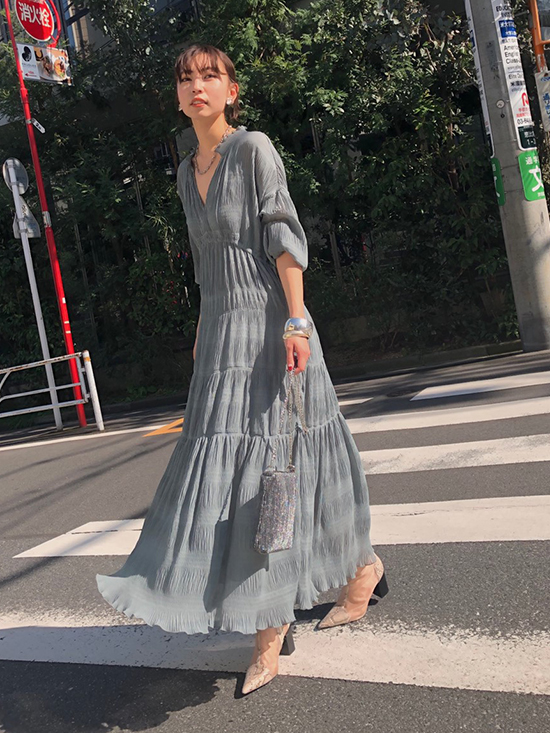 kaori_SHIRRING PLEATS DRESS