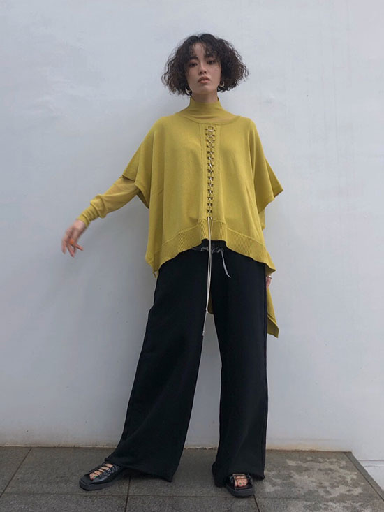 shioriok_LACE UP LAYERED KNIT