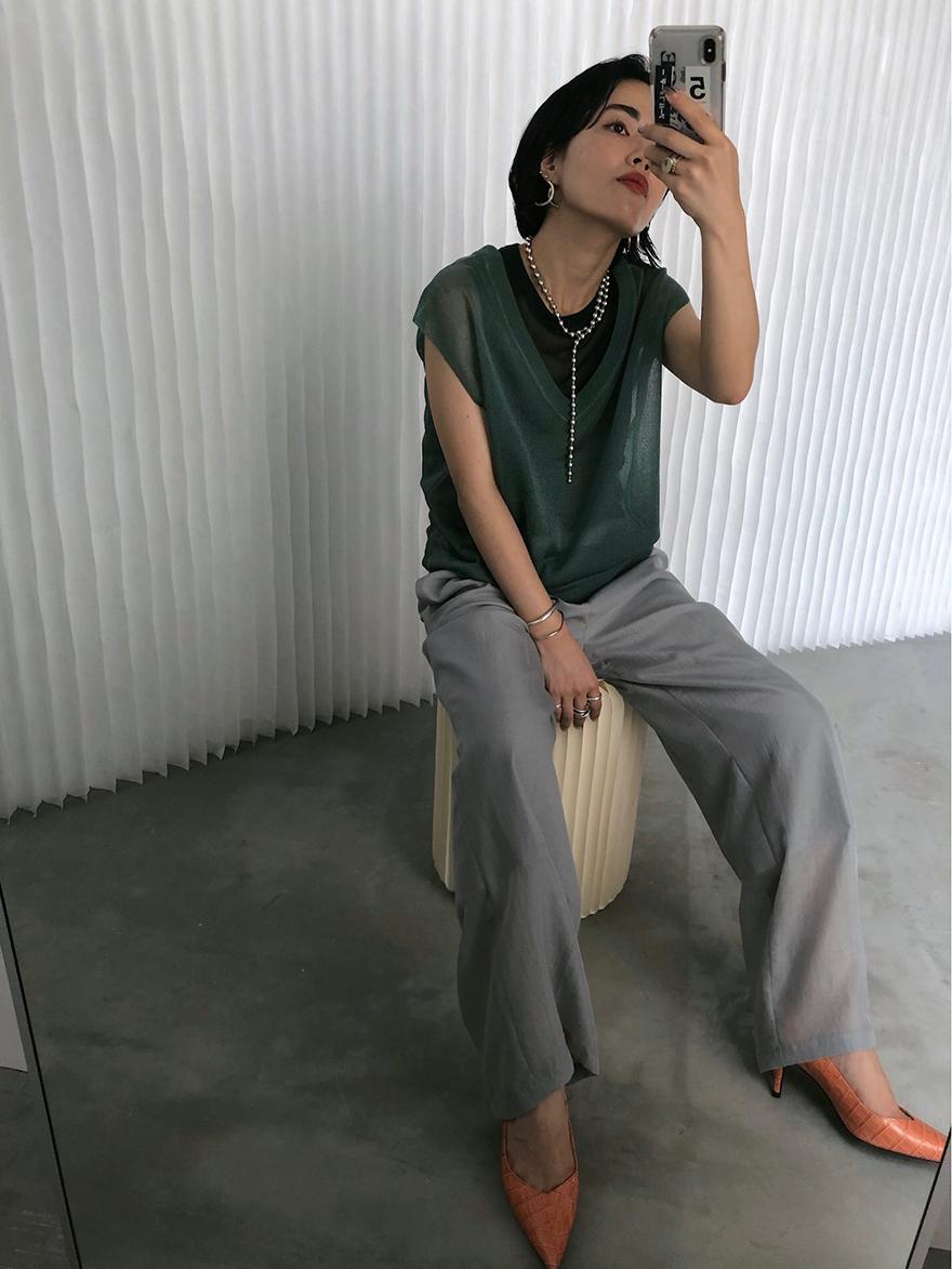 shiori_LAME TANK VEST SET TOP