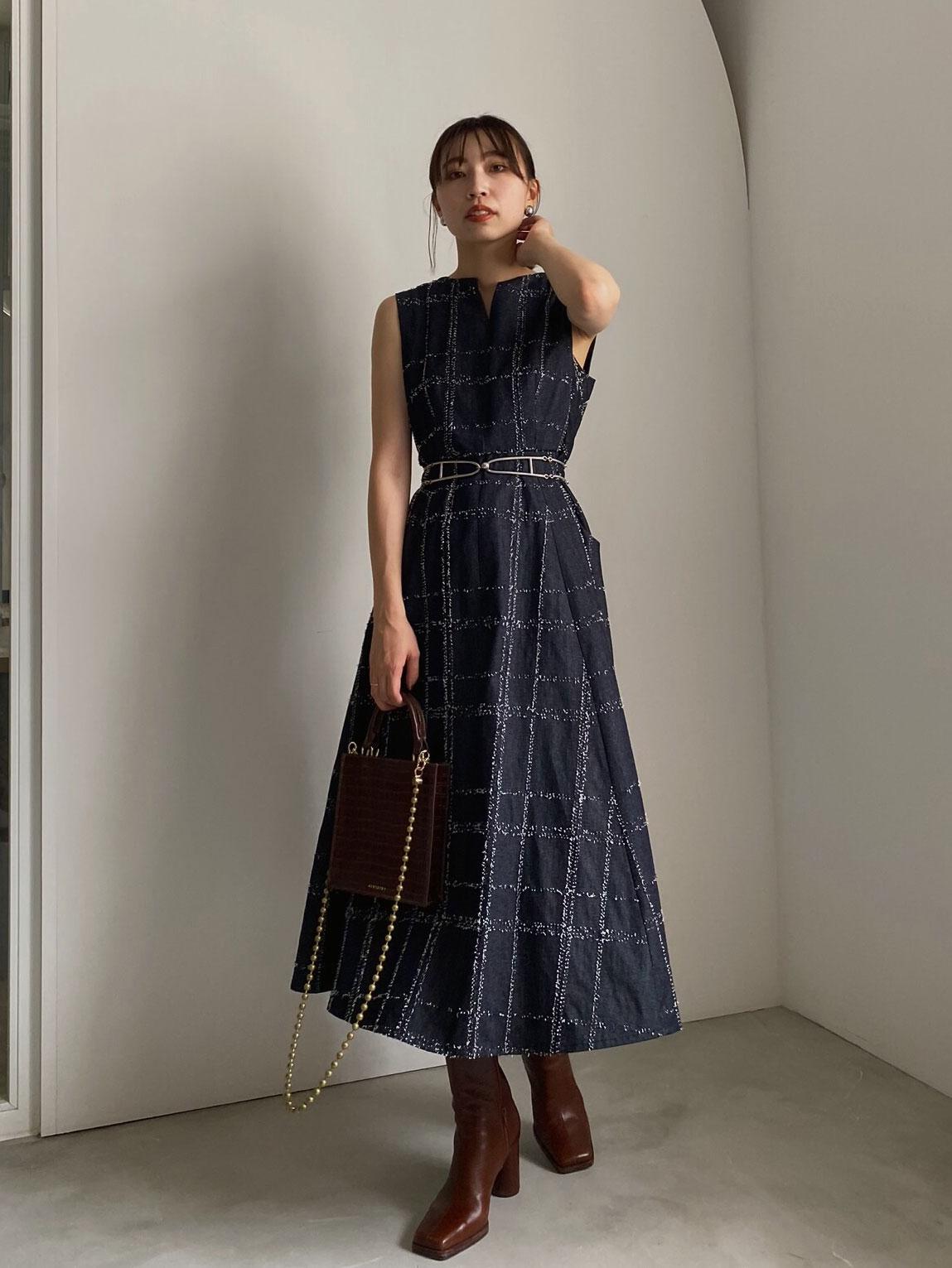 kaori_NEEDLE CHECK DRESS
