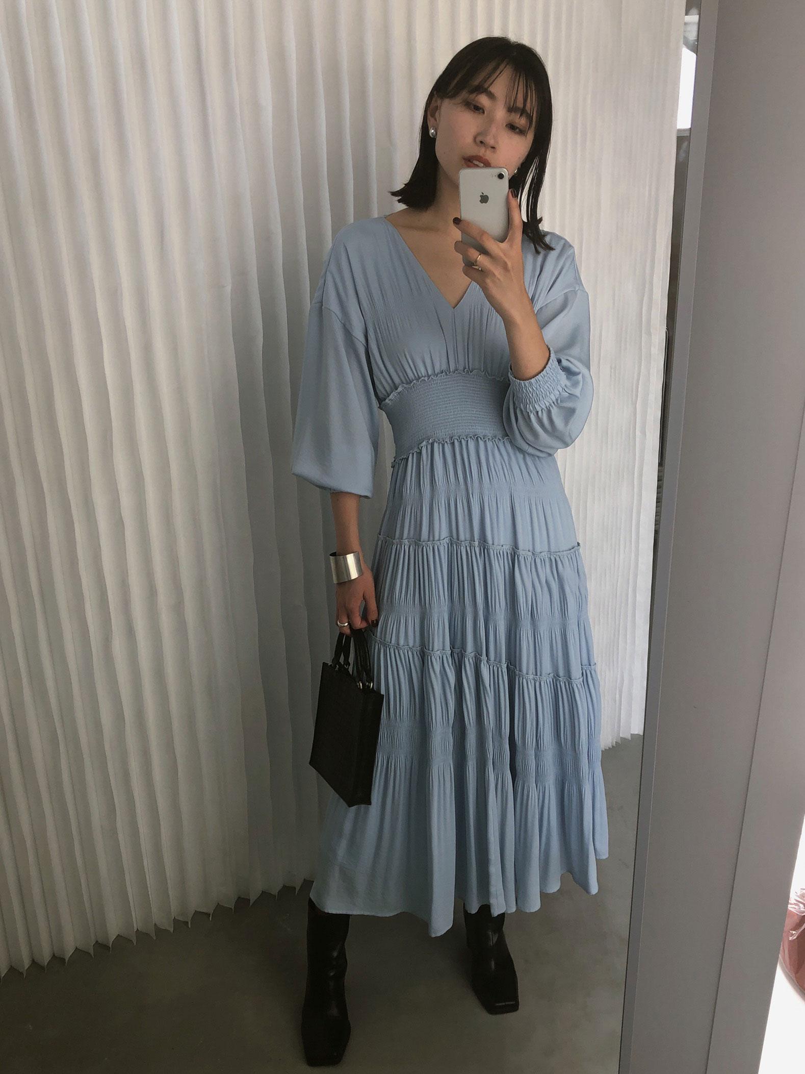 kaori_SLANT SHIRRING PLEATS DRESS