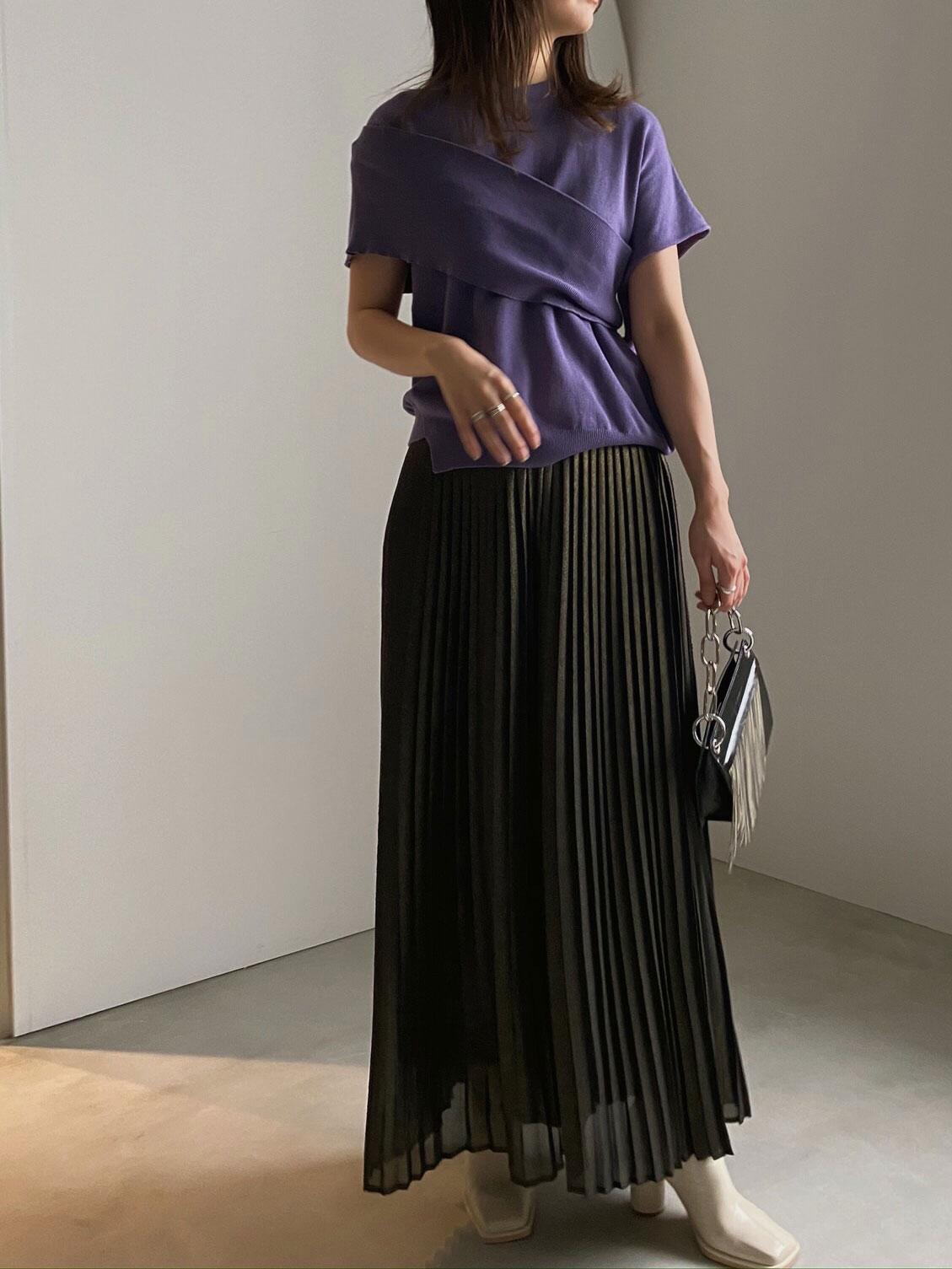 ayumi_LAME PLEATS SUSPENDER PANTS