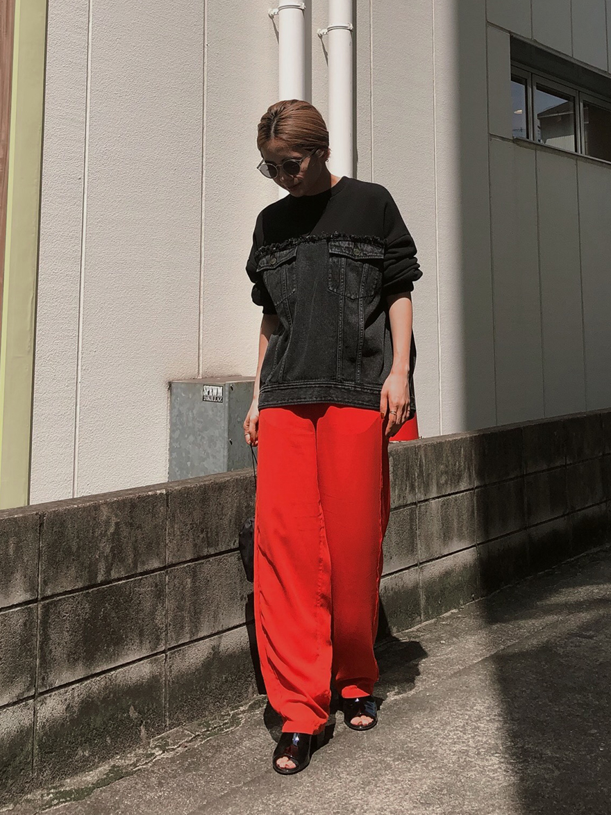 yuko_DENIM SWEAT OVER TOP