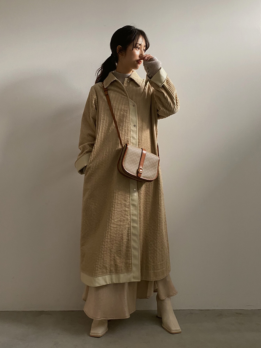 yu_LEATHER COMBINE CORDUROY COAT