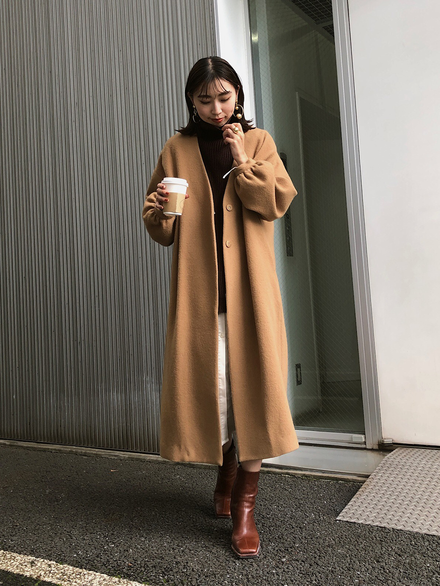 kaori_2WAY NO COLLAR BELT COAT