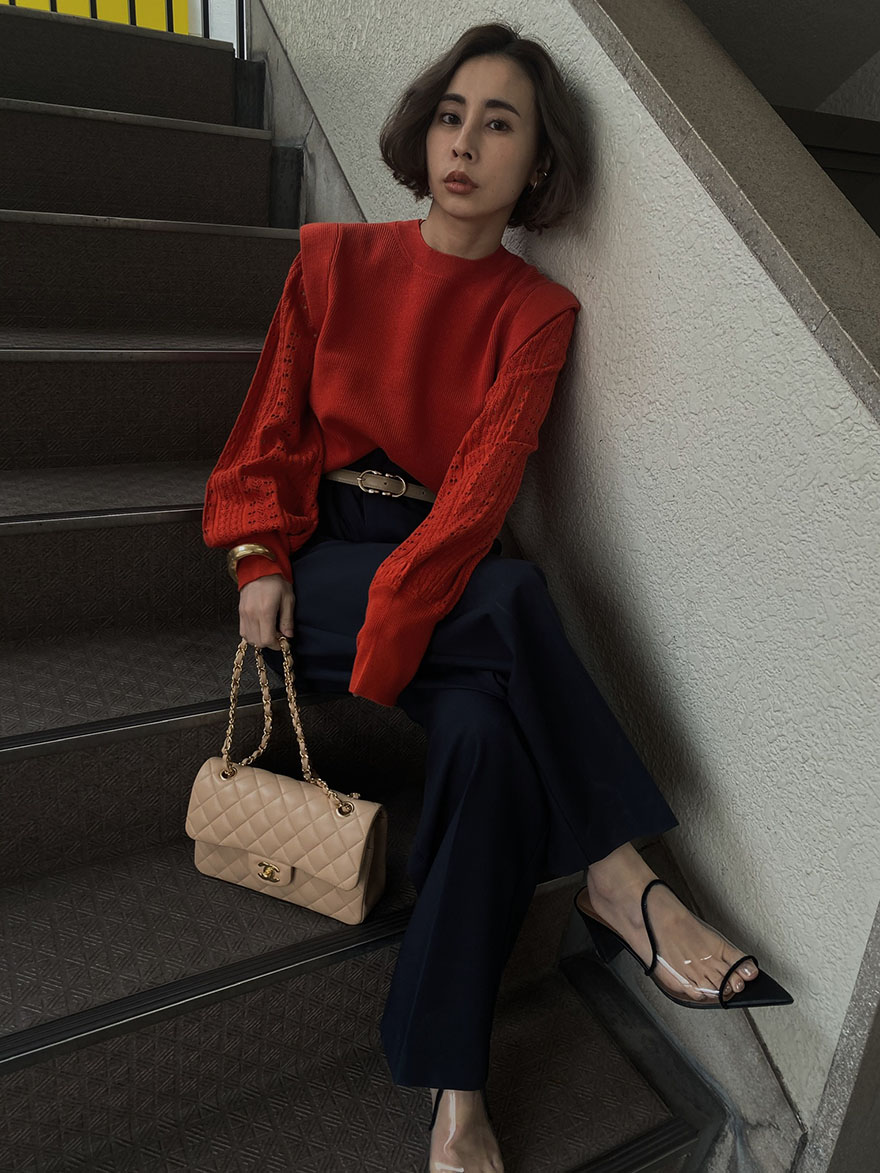 nao_LAYERED OVER SHOULDER KNIT
