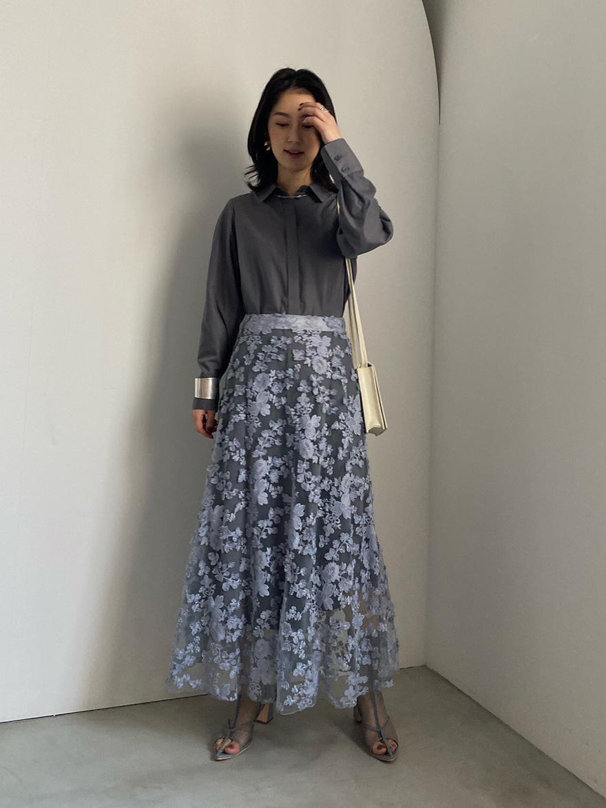 yu_LACE LAYERED SHIRT DRESS